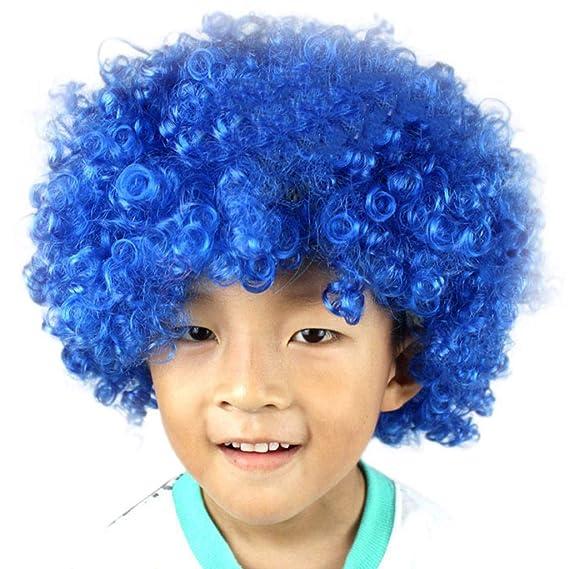 Longra❤ ❤ Fiesta Disco Divertido Afro Payaso Pelo Fútbol Fan-Kids Afro Masquerade Peluca de Pelo: Amazon.es: Ropa y accesorios