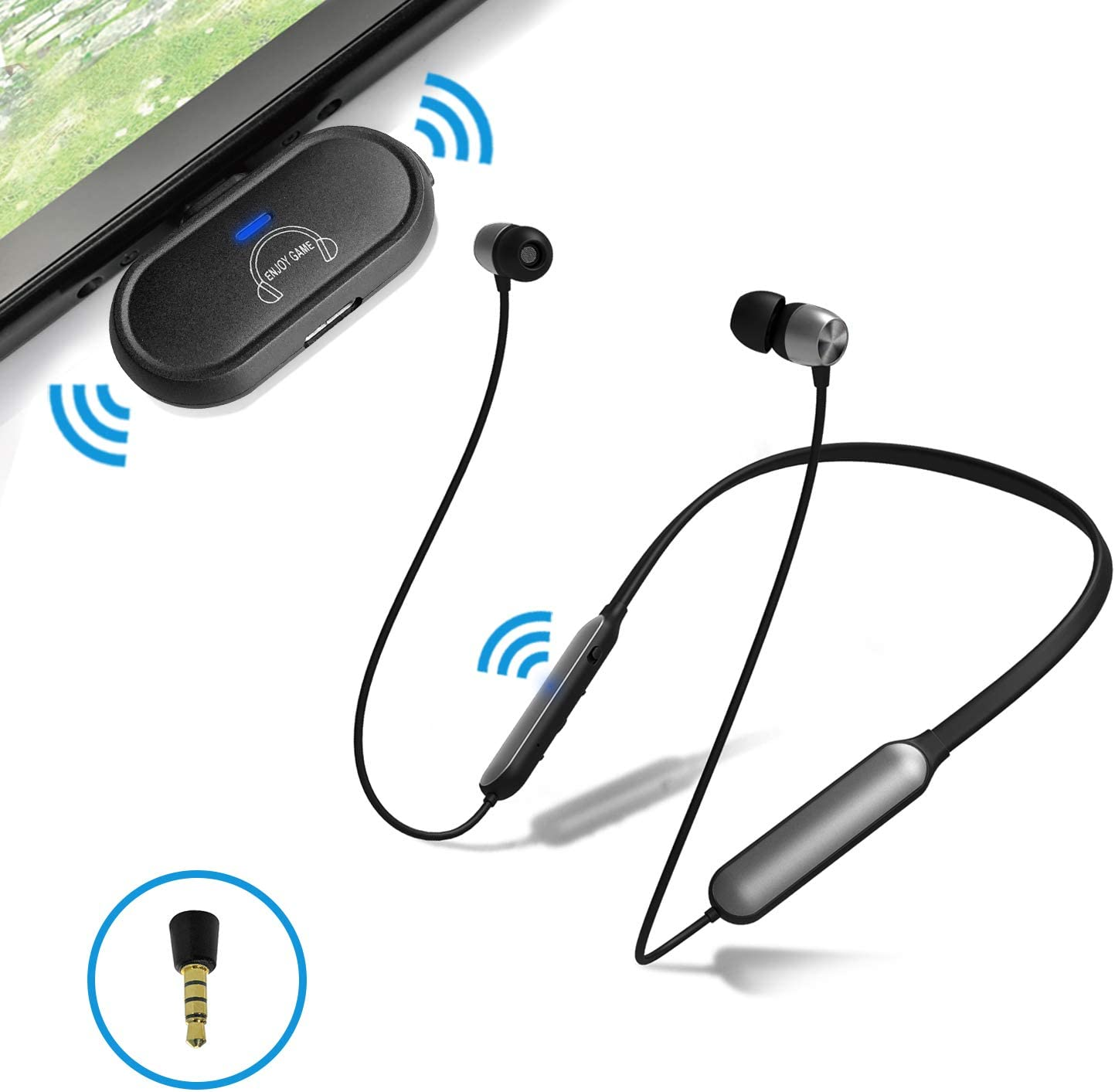 Giveet Bluetooth 5.0 Gaming Headphones for Nintendo Switch Lite, PS4, PC, w/USB to Type-C Transmitter/Mini Mic, Wireless Headset Earbuds Support in-Game Voice Chat, Plug n Play, No Audio Delay