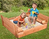 K&A Company Kids Outdoor Foldable Retractable Sandbox Bench Seat Play Children Playing Wooden