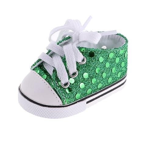 MagiDeal 1 Paio di Scarpe di Paillettes Sneakers per 18 Pollici Bambole Americano Ragazza - Verde 549txD6kQJ