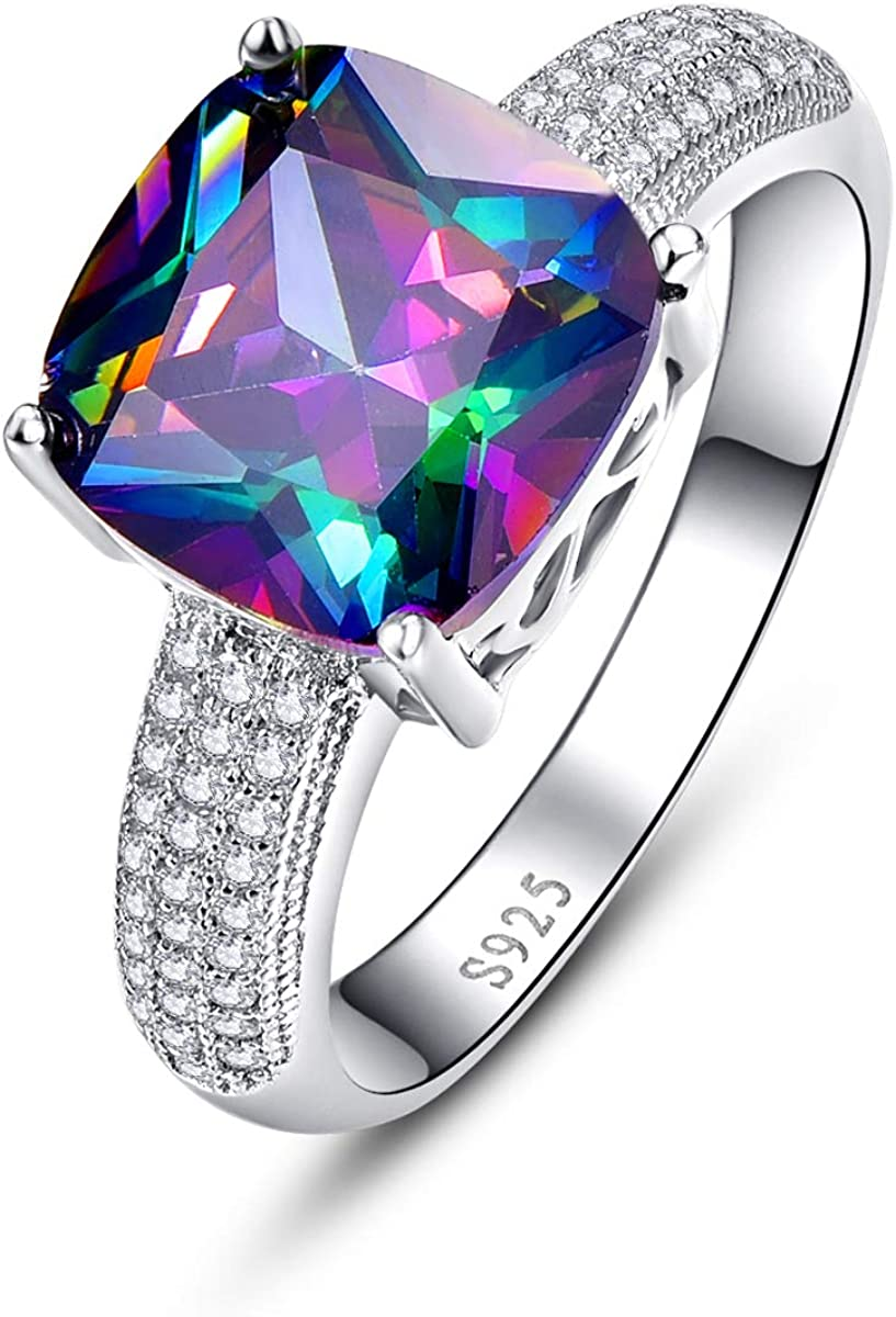 BONLAVIE Promise Rings for Women Solitaire Engagement Rings 7.3 cttw Cushion Cut Created Mystic Rainbow Fire Topaz CZ 925 Sterling Silver Ring