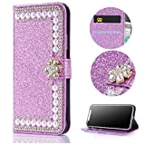 Stysen Wallet Case for iPhone 5 5S,Shiny Pearl Pattern Purple Bookstyle with Strass Flower Buckle Protective Wallet Case Cover for iPhone SE 5S 5-Flower,Purple