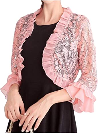 YKeen Womens Capes Long Sleeve Open Front Lace Bolero Shrug