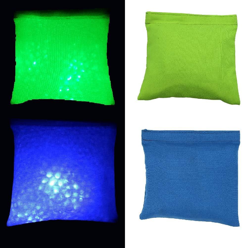 Glow Cornhole Bean Bags Light-Up Bean Bag Toss for Ourdoor Lawn Games(4 Green /& 4 Blue)