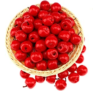 Gresorth 30pcs Mini Artificial Red Apple Decoration Fake Fruit Home Party Kitchen Food Toy Display - 3.5 cm