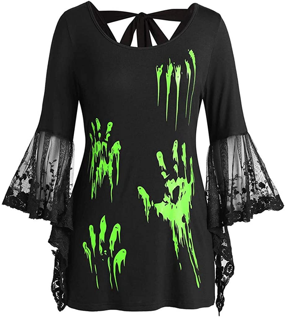 RUIVE Women/'s Plus Size Tops Halloween Lace Flare Sleeve Tunic Blood Hands Print Back Knotted Pullover Blouse