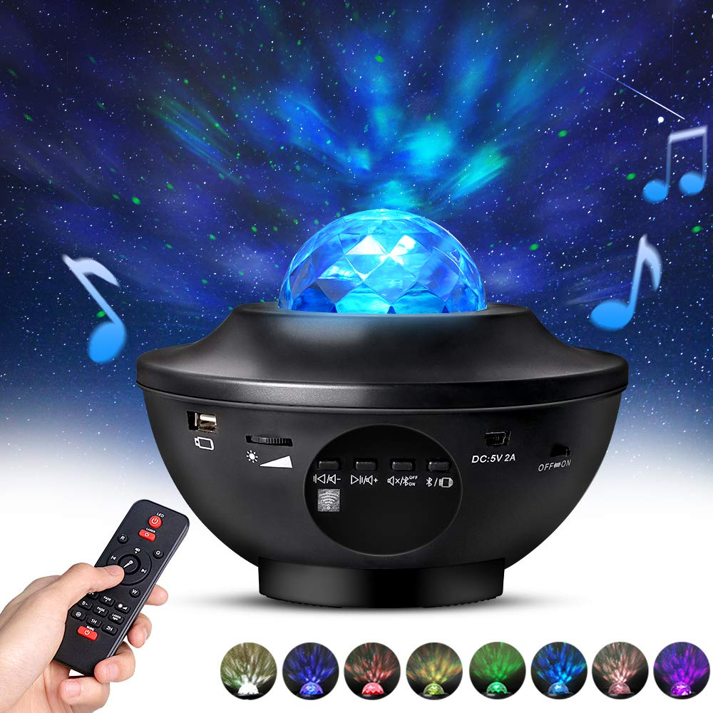 Night Light Projector with Remote Control, Eicaus 2 in 1 Star Projector with LED Nebula Cloud/Moving Ocean Wave Projector for Kid Baby