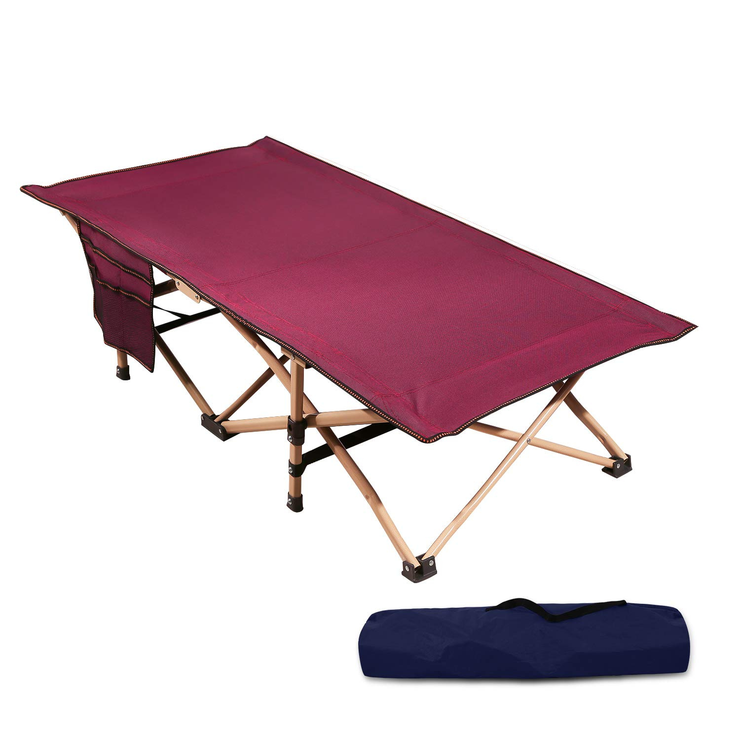 REDCAMP Extra Long Kids Cot for Camping, Sturdy Steel Folding Toddler Cot Bed for Travel Sleeping, Portable with Carry Bag, Wine Red 53x29