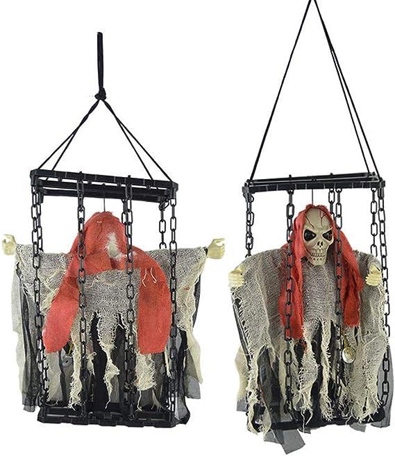Morbuy Halloween Voz Decoracion, Tenebrosos Colgantes Esqueleto ...