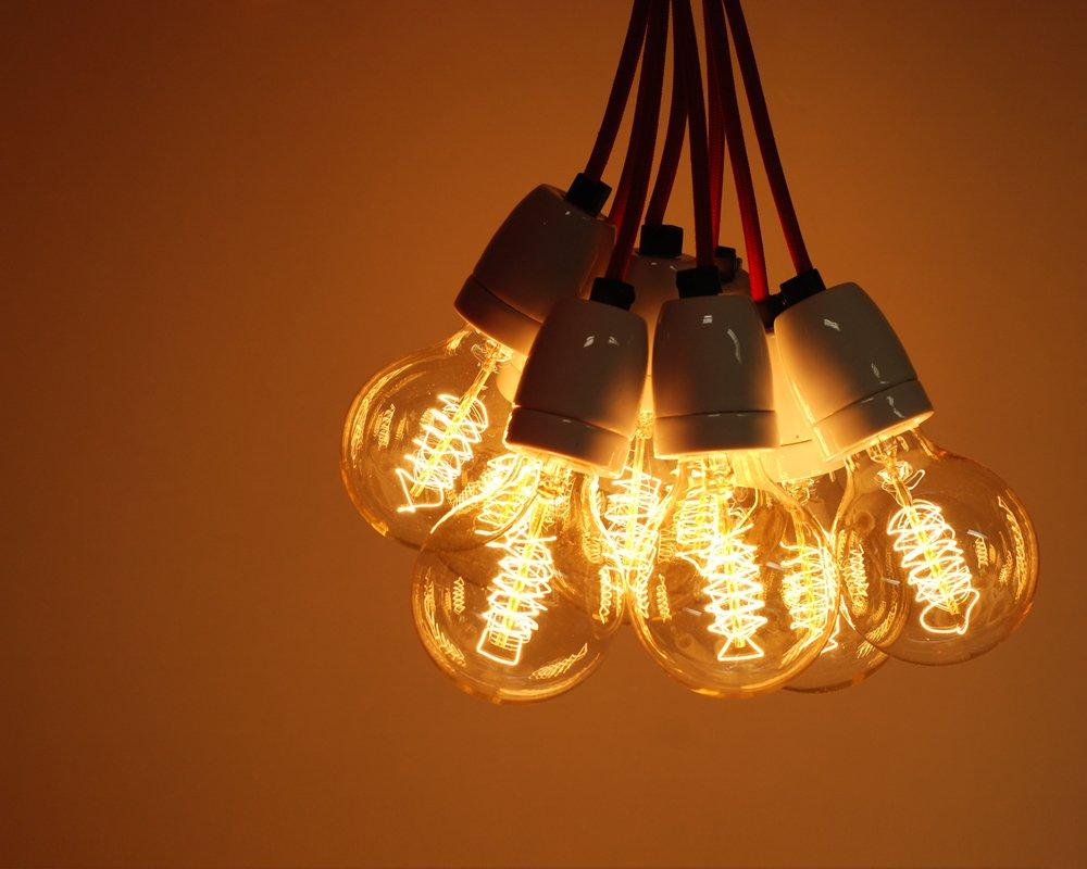 Large Filament Light Bulb: 10 pack | 40W G80 LARGE GLOBE VINTAGE EDISON LIGHT BULB | radio spiral  filament | E27 ES Screw: Amazon.co.uk: Lighting,Lighting