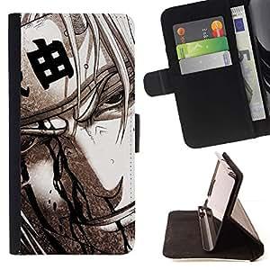 Momo Phone Case / Flip Funda de Cuero Case Cover - Guerrero japonés;;;;;;;; - Samsung Galaxy S6 Edge Plus / S6 Edge+ G928