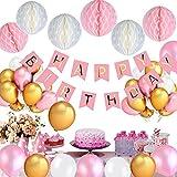 MIKAFEN Birthday Decorations , Happy Birthday Party Decorations Kit for girls ,Premium Birthday Party Decoration Supplies , Happy Birthday Banner and 6pcs Paper Honeycomb Balls ,30 Pack Balloons