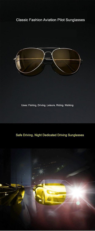 UVLAIK Fahrerbrille Nacht Fahren Sonnenbrille Männer Frauen UV400 Schattierungen Pilot Sonnenbrille Männlich-weibliche Nachtsicht Goggle Sonnenbrille (Silber) Ylv6un