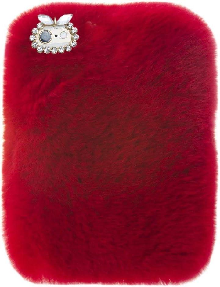 For Lenovo Tab3 8 Plus Tablet Cover, Winter Fashion Bling Rhinestone Fuzzy Faux Rabbit Furry Fluffy Beaver Rex Rabbit Fur Protective Case for Lenovo Tab 3 8 Plus (TB-8703)(Red)