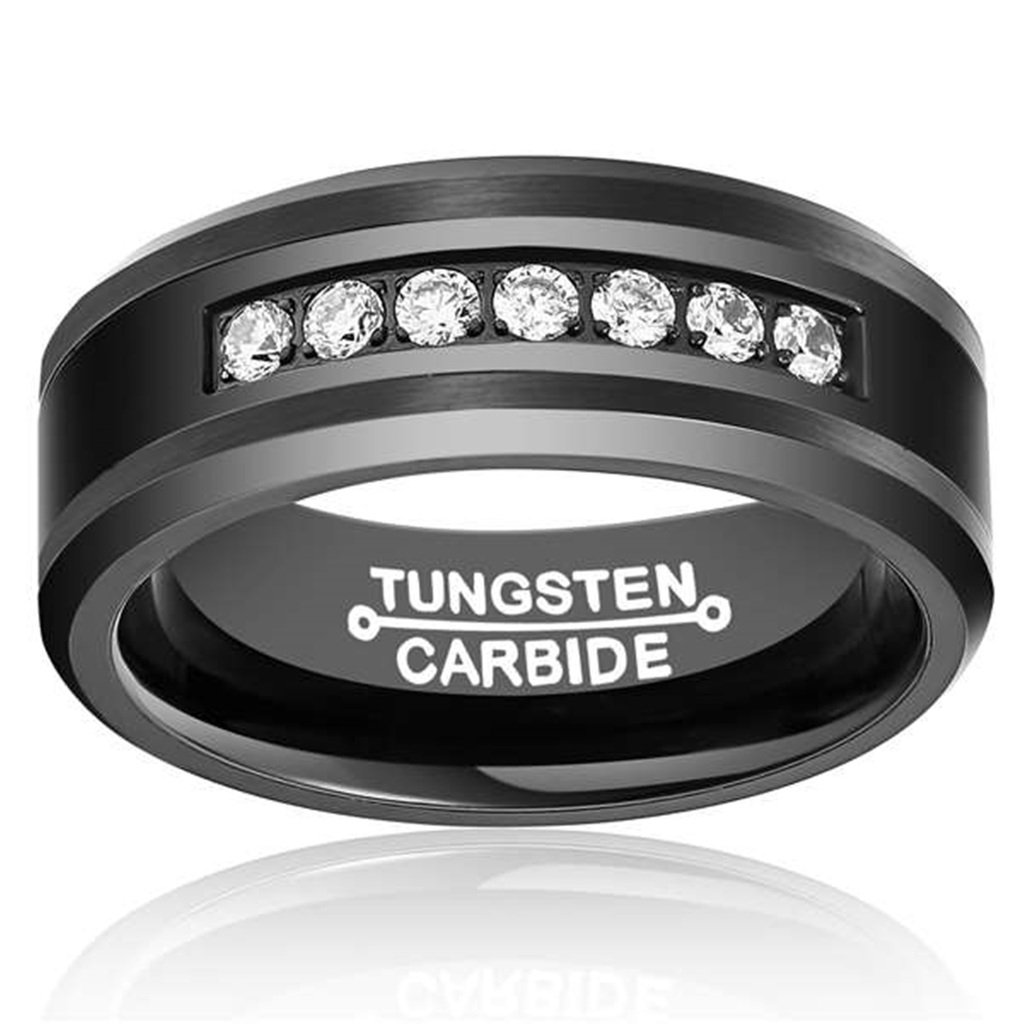 Bishilin 8MM Black Tungsten Ring White Cubic Zircon Stone Inlaid in Comfort Fit for Mens Size 7