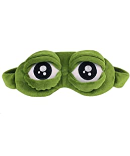 Van Caro 3D Unisex Frog Eye Sleeping Mask-Super Soft Padded Shade Cover, Cartoon Cover Blinder Travel Long Flights Gifts Kids(Green)