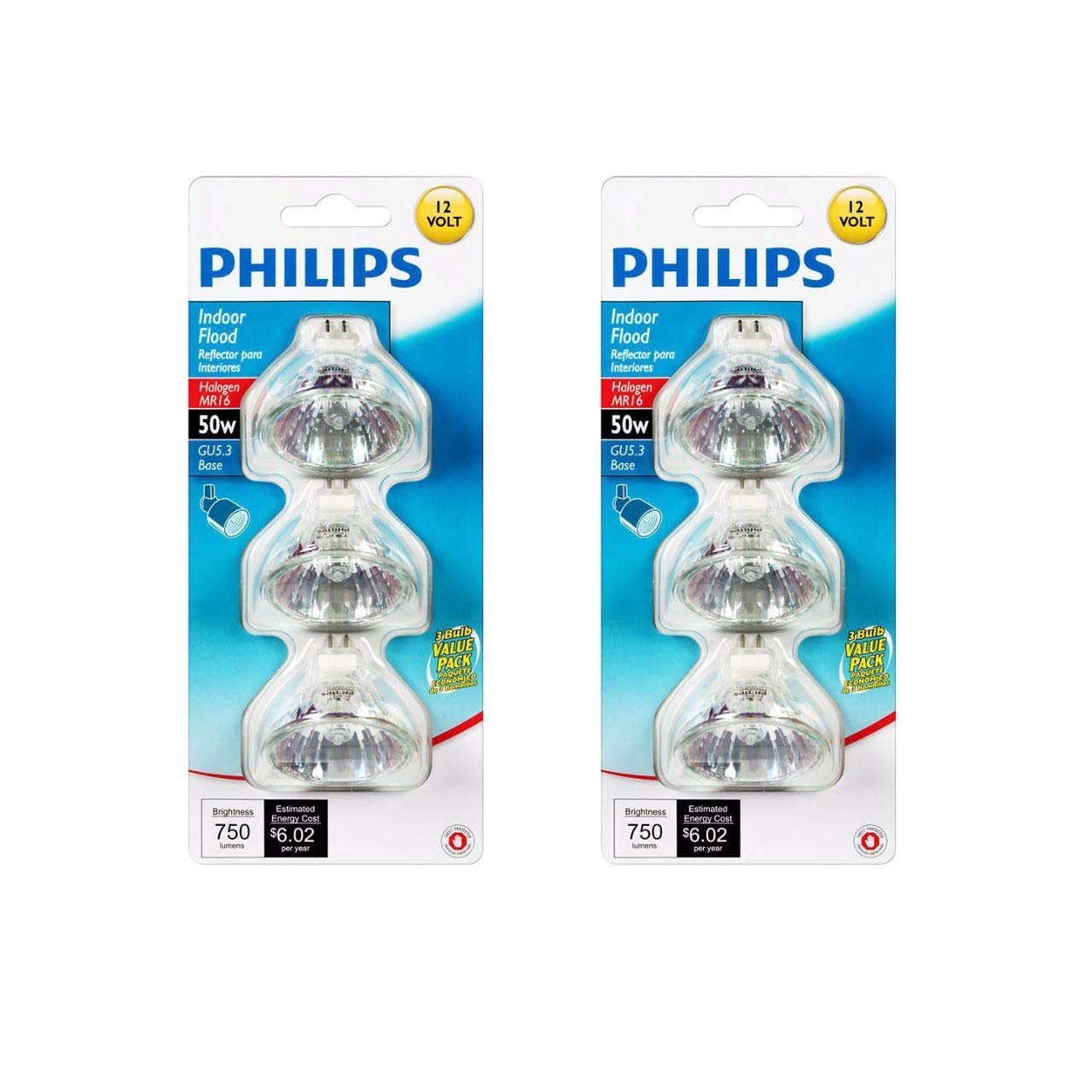 Philips 415802 Landscape and Indoor Flood 50 Watt MR16 12 Volt Light Bulb 3 Pack x 2
