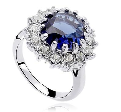 0b67a5370 Luxury Platinum Plated Queen Dark Blue Ring Medium Size O 17 mm Diameter  FR119: Amazon.co.uk: Jewellery