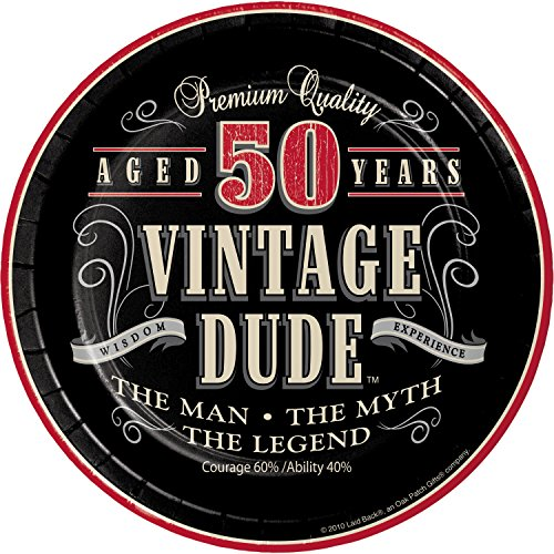 Vintage Dude 50th Birthday Dessert Plates, 24