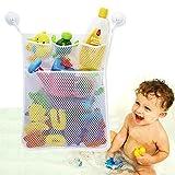 Bath Toy Organizer Bathroom Tub Storage - 3 Bonus Suction Cups Hook Machine Washable, White