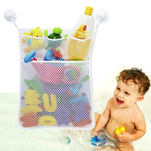 Bath Toy Organizer Bathroom Tub Storage - 3 Bonus Suction Cups Hook Machine Washable