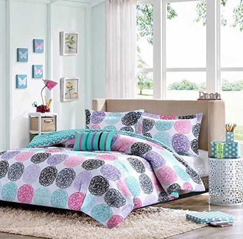 1 x full queen reversible comforter set pink teal purple bedding teen girls pillows by mi zone. Black Bedroom Furniture Sets. Home Design Ideas