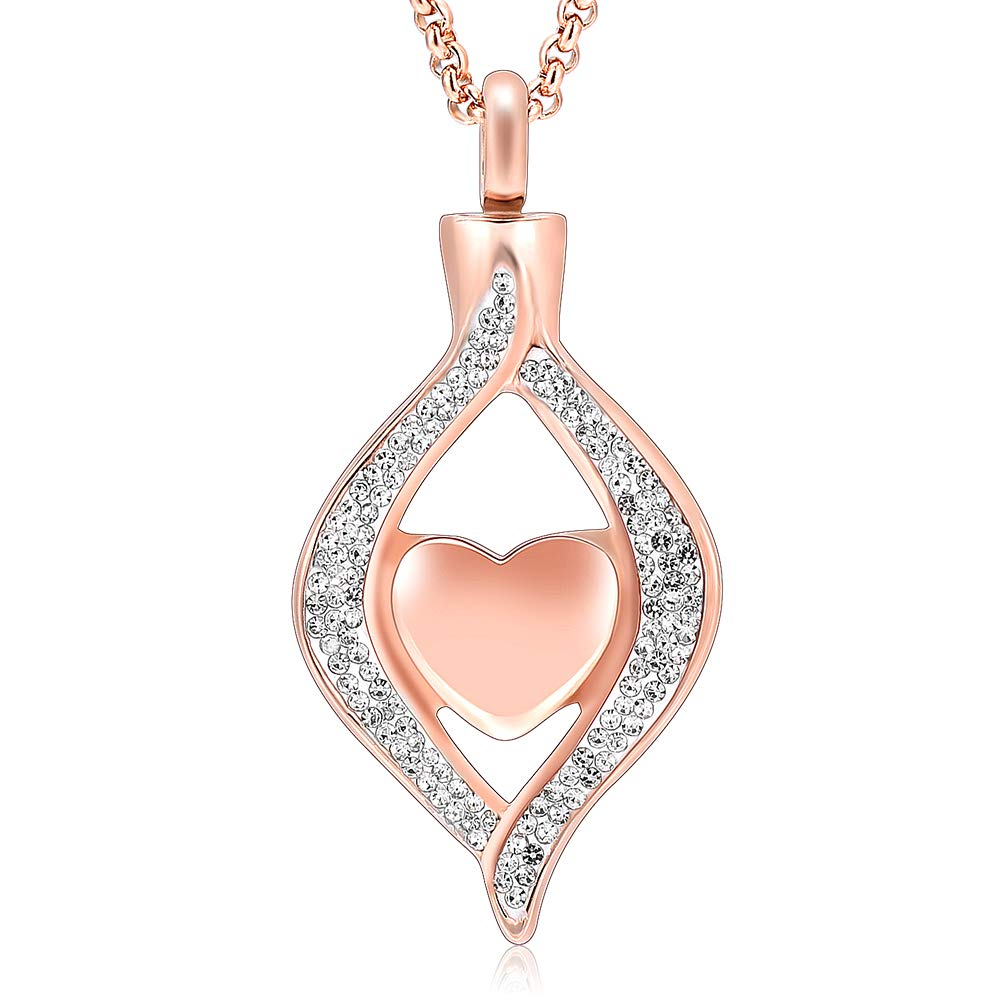 HLN8111 Ashes Keepsake Urn Pendant Necklace Memorial Jewelry Classic Style Crystal Hold Heart Urn (Rose gold)