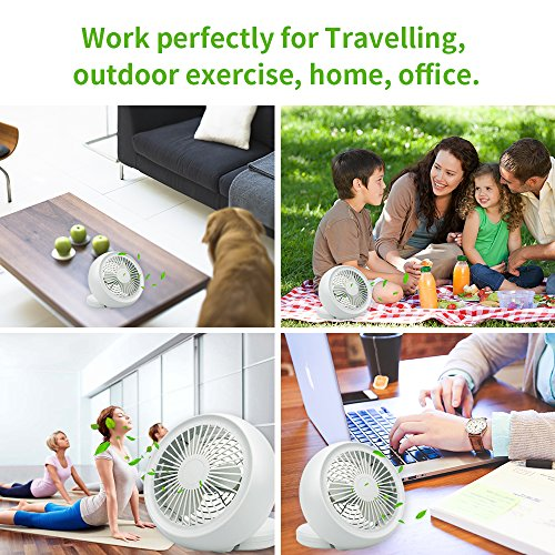 Mini USB Fan, Throne 6 Portable Desk Fan w/USB and Battery Dual Power Supply, Angle Adjustable and Low Noise, Silent Cooling Fan for Home, Office with Powerful Airflow (White) by Wolfarya (Image #5)