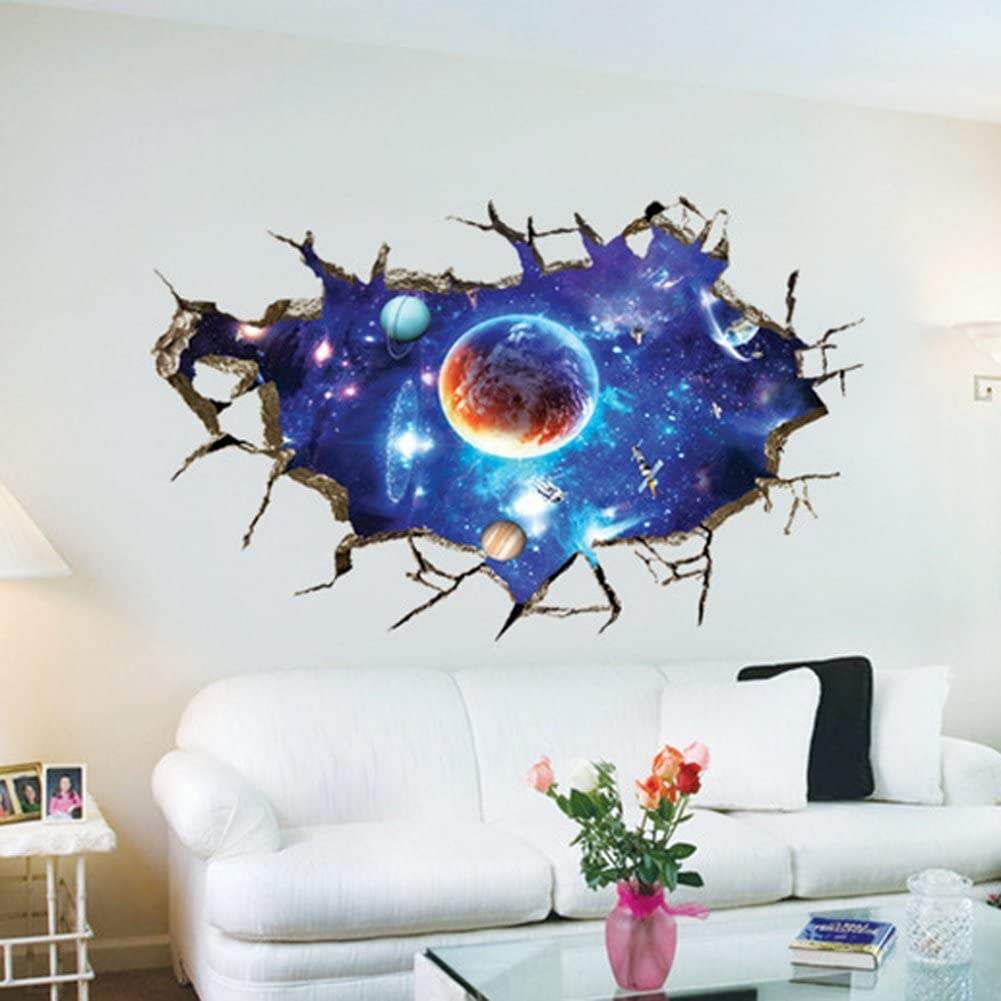 Fange Diy Removable 3d Cracked Wall Outer Space Stars Universe Planets Art Mural Vinyl Waterproof Wall Stickers Kids Room Decor Nursery Decal Sticker Wallpaper 35 4 X23 6 Amazon Ca Home Kitchen
