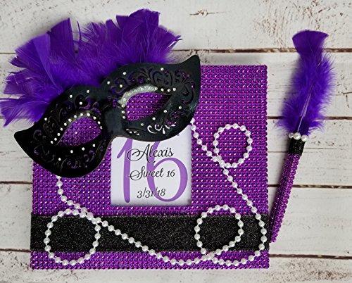 Custom Masquerade Bling Guest Book Set - Choice of ()