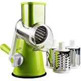 Multifunctional Manual Rotary Vegetable and Fruit Cutting Machine, Cutting Machine for Fast Grinding Machine, Multifunctional Kitchen Utensils, Slicer,Cheese Grater (Green)