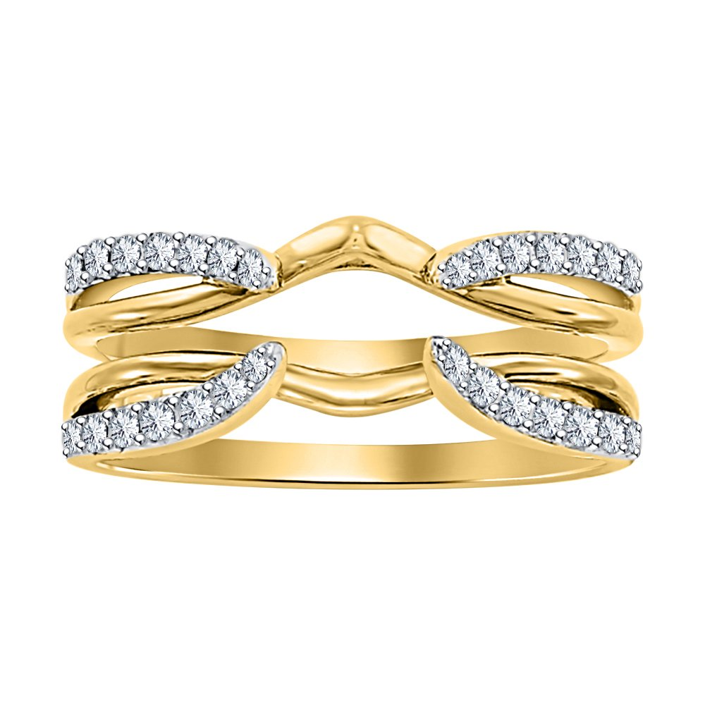 Dabangjewels 1/4 ct Simulated Diamond Enhancer Solitaire Engagement Ring 14k Yellow Gold Plated Guard Wrap Jacket