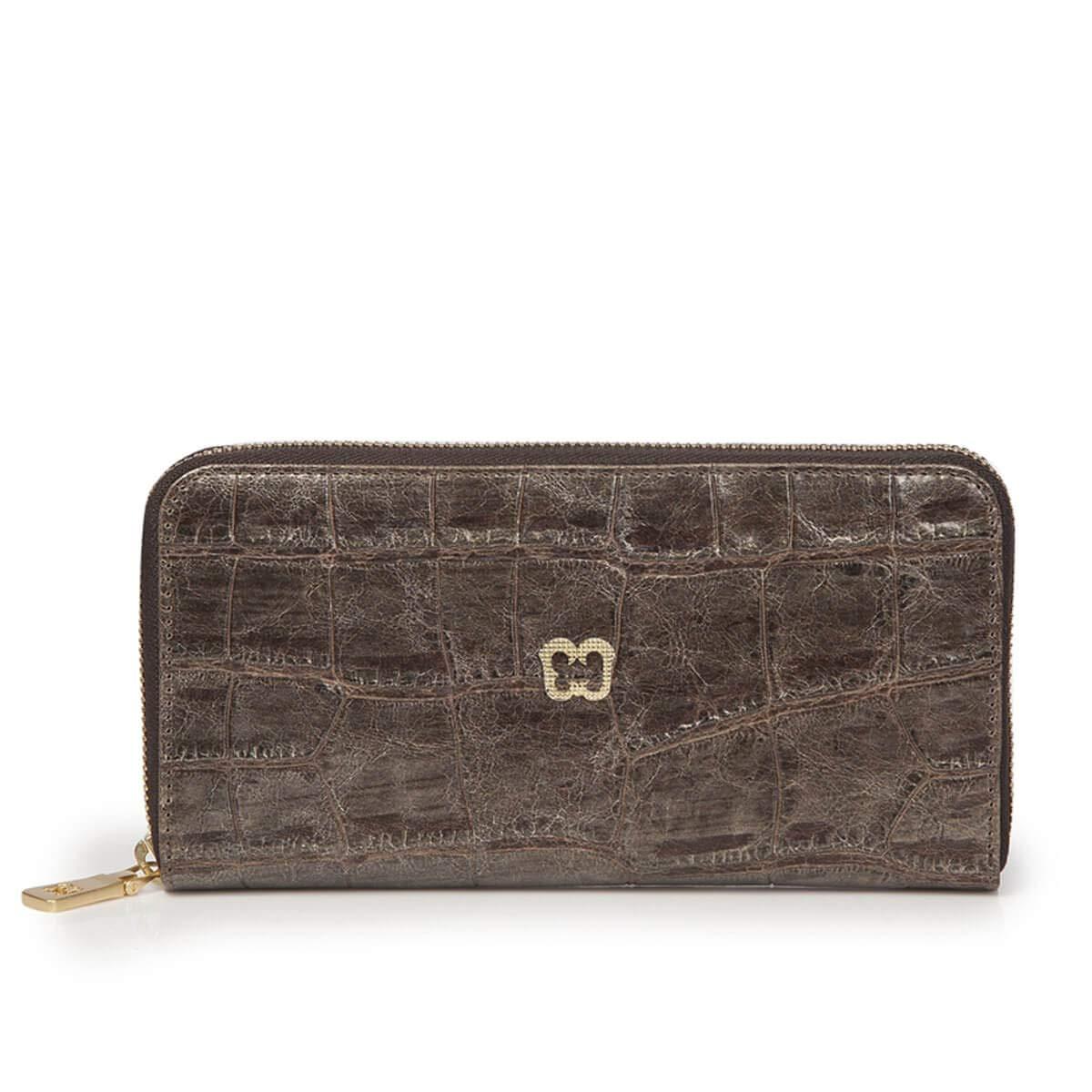 Eric Javits Luxury Fashion Designer Women's Handbag  Zip Wallet  Pewter