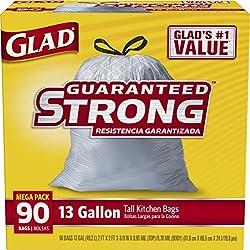 Glad Tall Drawstring Trash Bags - 13 Gallon - 90 Count