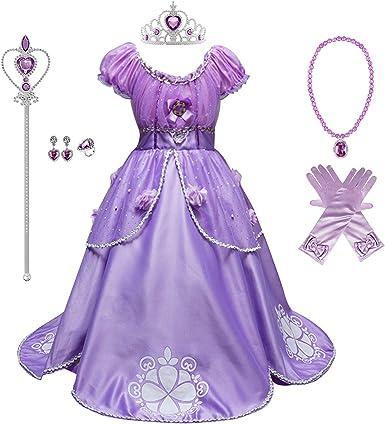 Halloween Sofia Rapunzel Princess Cosplay Fancy Party Dress Costume for Kid Girl