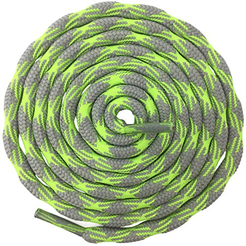 Green Round Shoes - DELELE 2 Pair Round Wave Non-slip Antiskid Outdoor Mountaineering Climbing Shoe Laces Gray&Fluorescent Green Hiking Shoelaces Men Women Shoestrings-62.99