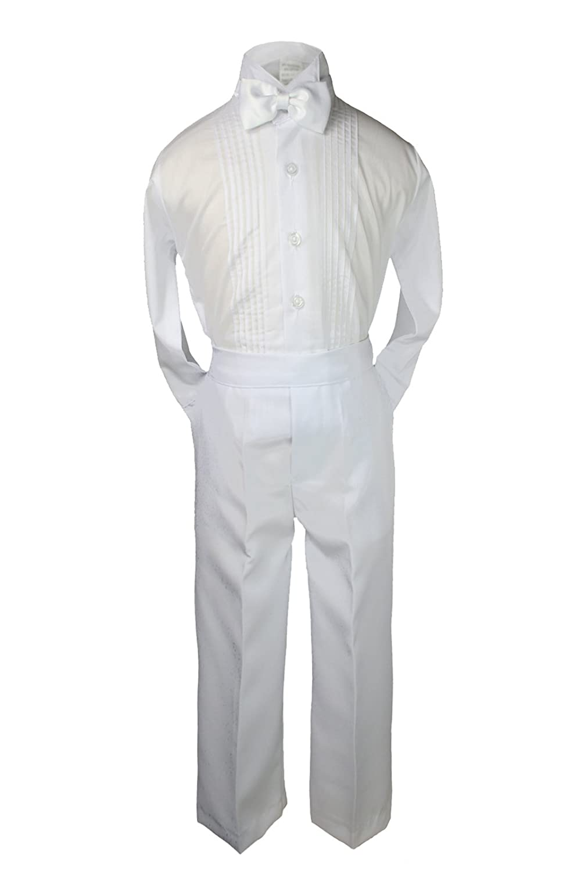 5-7pc Boy White Satin Shawl Lapel Suits Tuxedo TURQUOISE Bow Necktie Vest Sm-20