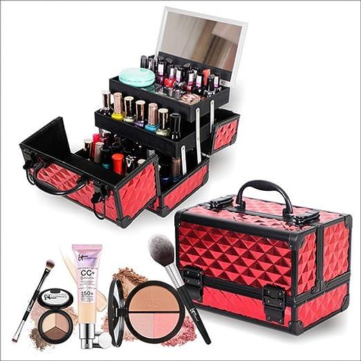 Estuche cosméticoEstuche cosmético Profesional, Espejo de Mano, Caja de Aluminio de Dos Capas, Estuche para uñas, Resistente al Agua: Amazon.es: Equipaje