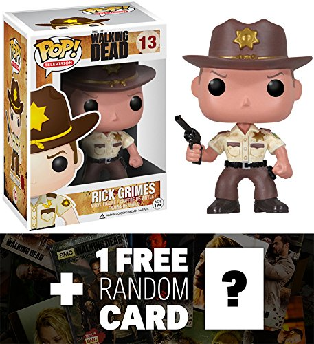 Rick Grimes: Funko POP! x Walking Dead Vinyl Figure & 1 Official Walking Dead Trading Card Bundle (29559)