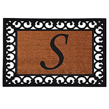 Home & More 180041925S Inserted Doormat, 19  X 25  x 0.60 , Monogrammed Letter S, Natural/Black