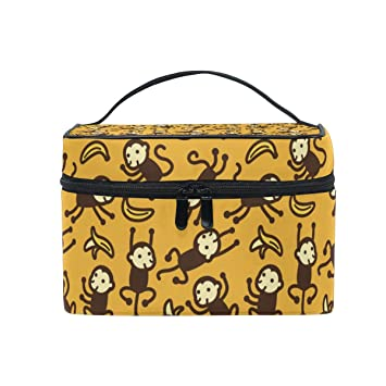 57cafdd9427e Amazon.com : Cosmetic Case Bag Monkey Banana Portable Travel Makeup ...