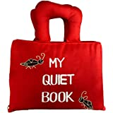 Naveeti My Quiet Book with red Cover Plus 1 Animal Finger Puppet - Educational Early Learning Activity Cloth Book for Babies and Kids. A Fun Filled Busy Book That Children Will Love.