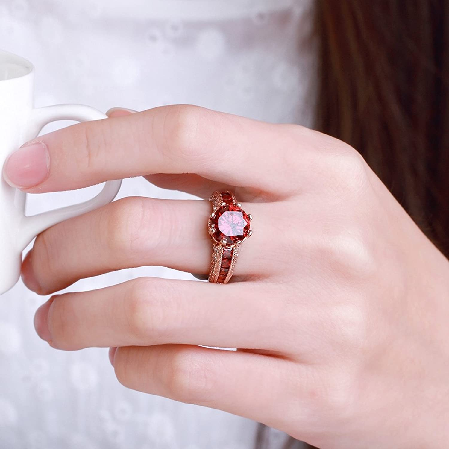 18K Rose Plated CZ Ruby Stone Personalized Fashion Rings for Women ...