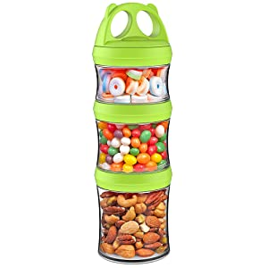 SELEWARE Portable and Stackable 3-Piece Twist Lock Panda Storage Jars Snack Container to Contain Formula, Snacks, Nuts, Drinks and More, BPA and Phthalate Free (Green, 28oz)