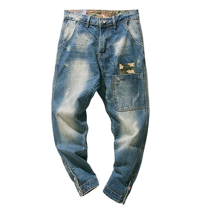 Yiiquan Pantalones Vaqueros Rectos para Hombre, Costura de ...