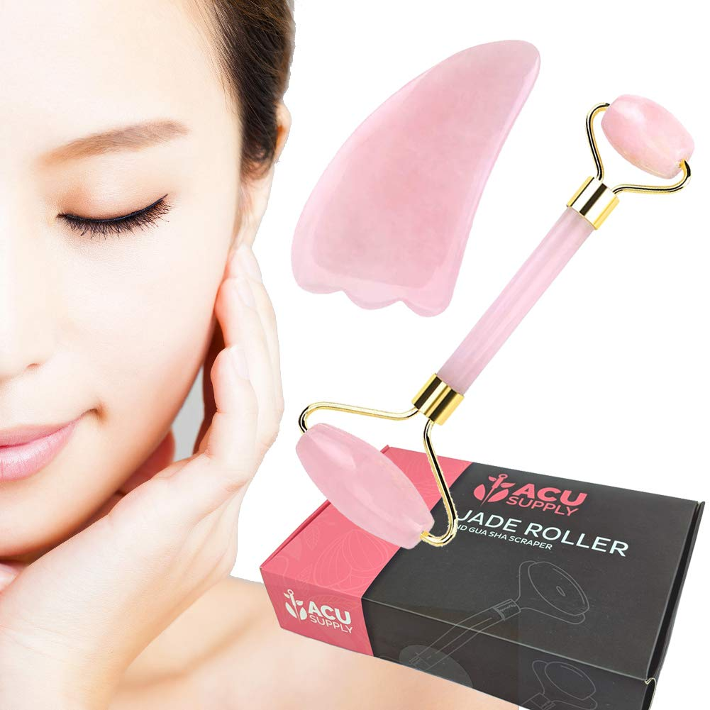 Crystal Face Massager and Gua Sha Scraper Skin Care Kit - Anti Aging Face Roller For Women - For Soft Glowing Wrinkle-Free Skin - Available in Jade And Rose Quartz