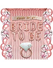 Rose Gold Bachelorette Party Supplies - Bridal Shower Decorations Rose Gold Balloons, Confetti Balloons & Foil Balloon - Bride To Be Party Favors Bride to Be Sash, Foil Curtain & Balloon Ribbon