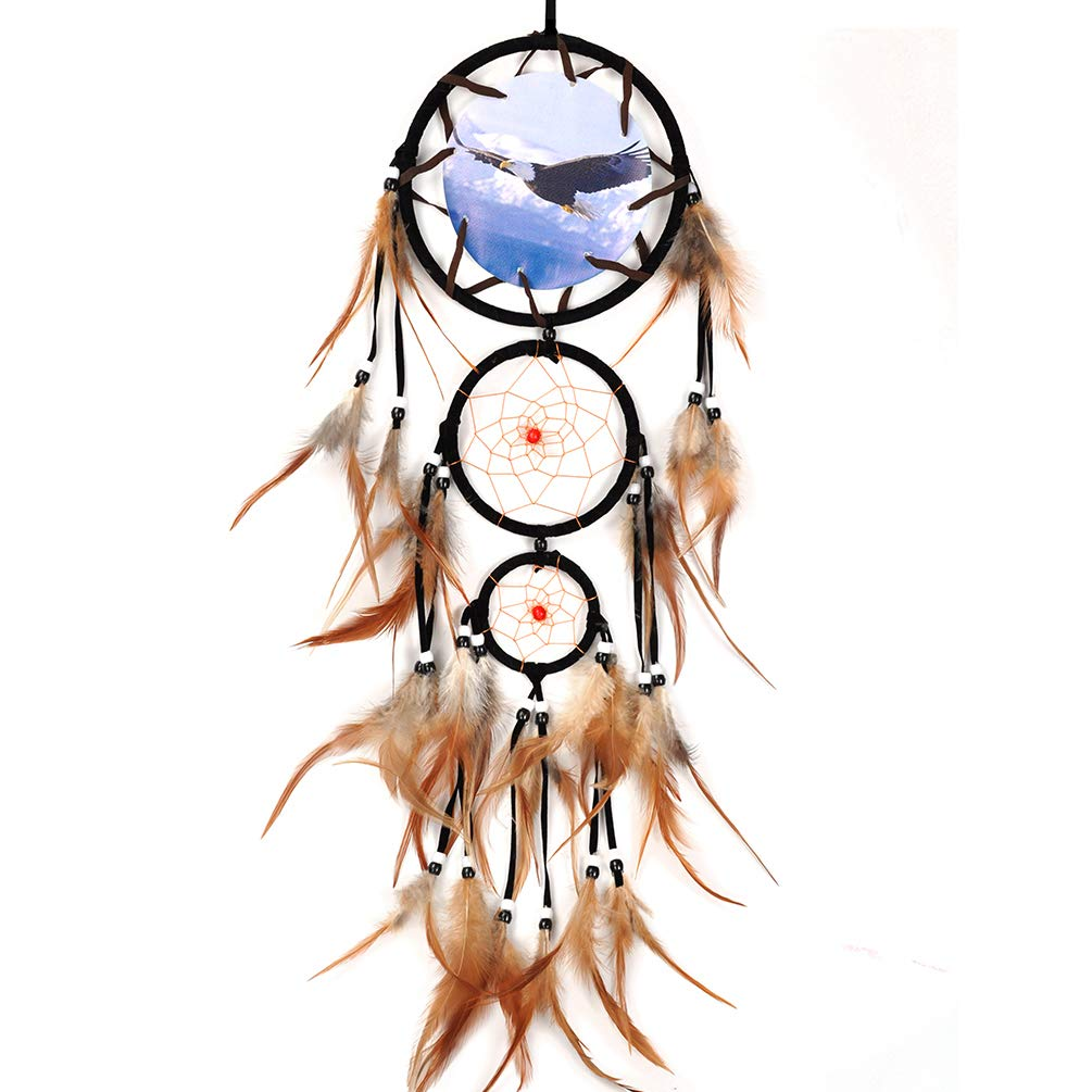 Dream Catchers for Bedroom Boho India Decor Eagle Painting Wall Hanging for Native American Real Feather Handmade Large Dreamcatcher Dia. 6.5in 30'' Long Suede …
