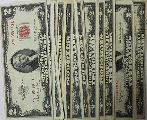 Lot of 25 Red Seal $2 Notes - States Seal Note Gold United