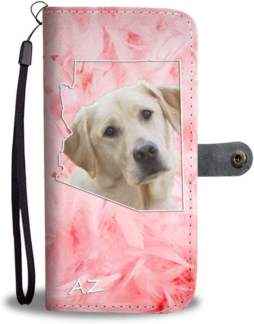 Labrador Retriever Printed Leather Wallet Case for Samsung, iPhone, LG, Goole Pixel, Huawei, HTC, Motorola, Xiaomi- Dog Printed Magnetic flip Cover with Card Slots Wrist Strap - Arizona State